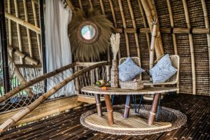 The furniture within the bamboo villa