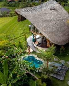 Bamboo house and pool from top