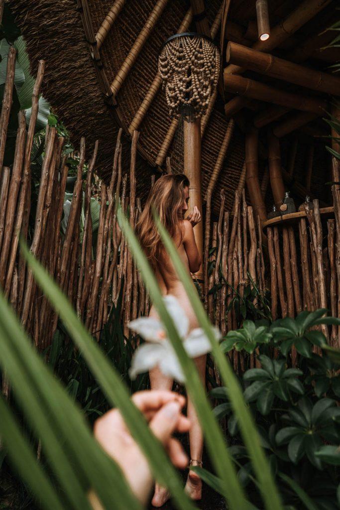 Bamboo house shower